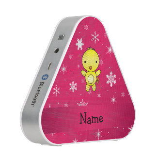 Personalized name chicken pink snowflakes bluetooth speaker