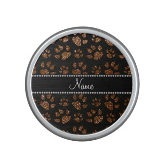 Personalized name chocolate brown glitter cat paws speaker