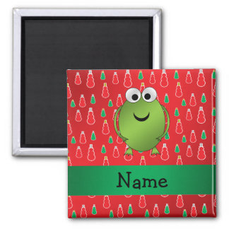 Personalized name christmas frog red snowmen fridge magnets