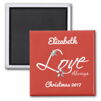 Personalized name Christmas love always red Magnet