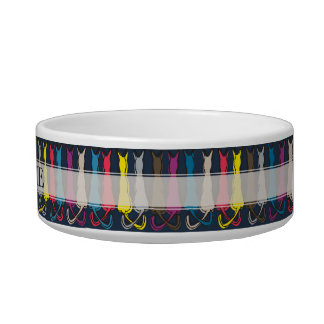 Personalized Name Colorful Cats Silhouette Bowl