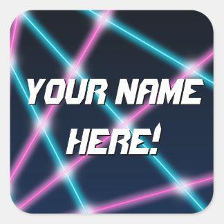 Personalized Name Cool Kids 80s Laser Retro Neon Square Sticker