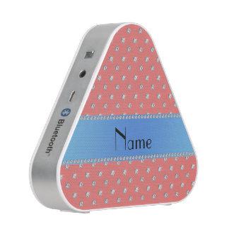 Personalized name coral pink diamonds blue stripe speaker