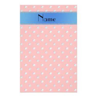Personalized name coral pink diamonds blue stripe stationery design