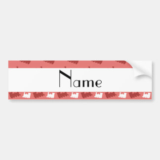 Personalized name coral pink train pattern bumper sticker