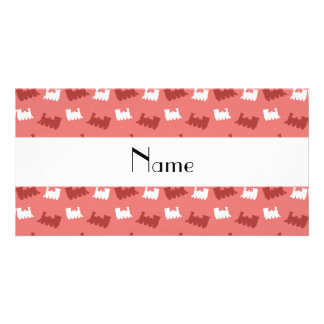 Personalized name coral pink train pattern custom photo card