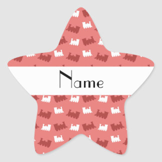 Personalized name coral pink train pattern star stickers