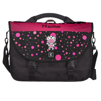 Personalized name cow black pink polka dots bag for laptop