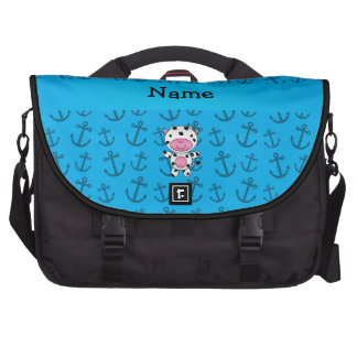 Personalized name cow blue anchors pattern laptop messenger bag