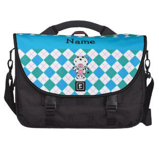 Personalized name cow blue green argyle laptop messenger bag