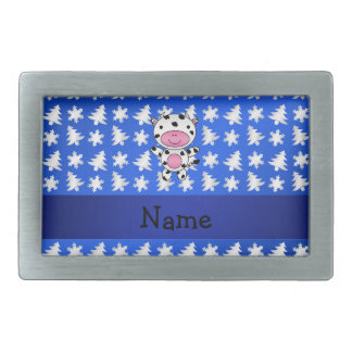 Personalized name cow blue snowflakes trees rectangular belt buckle