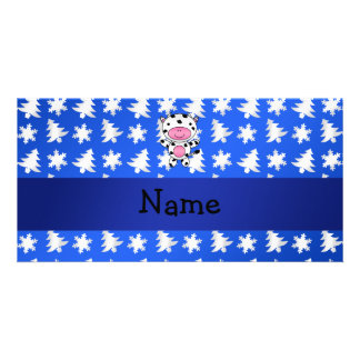 Personalized name cow blue snowflakes trees photo card template