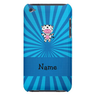 Personalized name cow blue sunburst barely there iPod cases