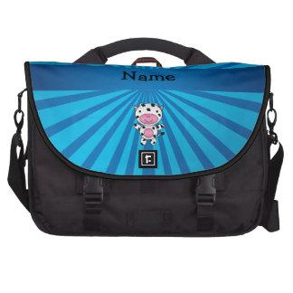 Personalized name cow blue sunburst computer bag