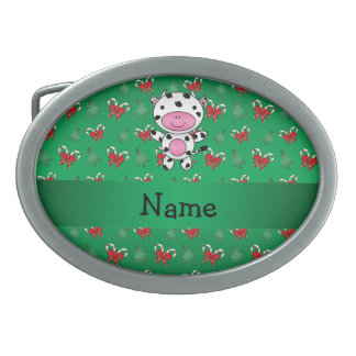 Personalized name cow green candy canes bows belt buckles