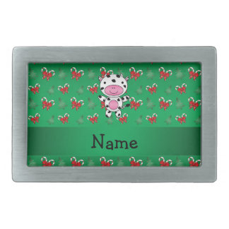 Personalized name cow green candy canes bows belt buckle