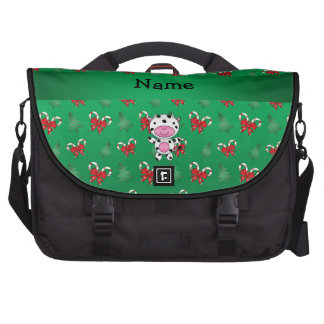 Personalized name cow green candy canes bows commuter bag