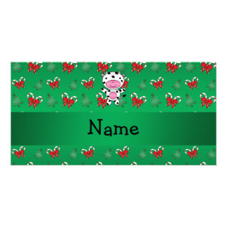 Personalized name cow green candy canes bows personalized photo card