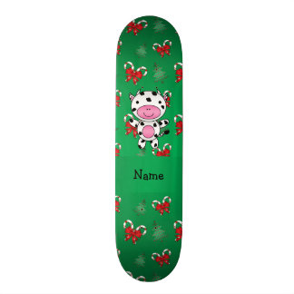 Personalized name cow green candy canes bows skate board deck