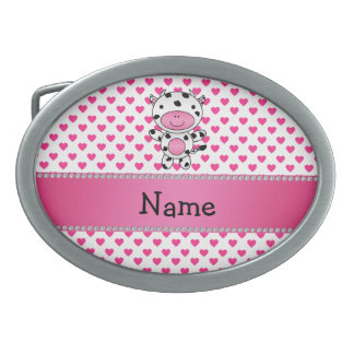 Personalized name cow pink hearts polka dots oval belt buckles