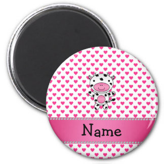 Personalized name cow pink hearts polka dots refrigerator magnet