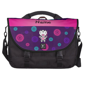 Personalized name cow pink purple flowers commuter bags