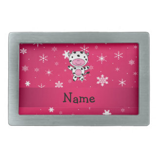 Personalized name cow pink snowflakes rectangular belt buckles