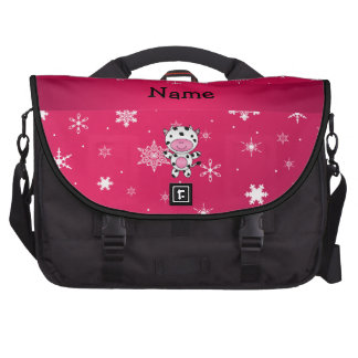 Personalized name cow pink snowflakes laptop computer bag
