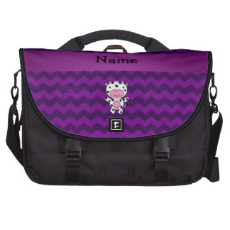 Personalized name cow purple chevrons bags for laptop
