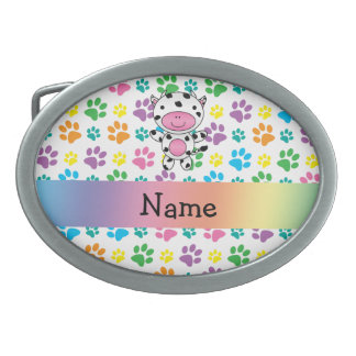 Personalized name cow rainbow paws oval belt buckles