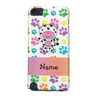 Personalized name cow rainbow paws iPod touch 5G covers