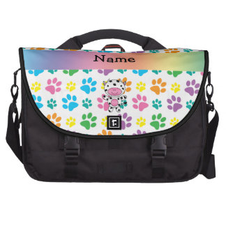 Personalized name cow rainbow paws bags for laptop