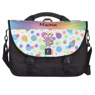 Personalized name cow rainbow polka dots laptop computer bag