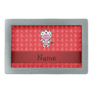 Personalized name cow red christmas trees rectangular belt buckle