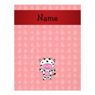 Personalized name cow red christmas trees flyer