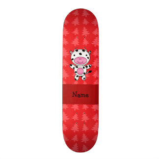 Personalized name cow red christmas trees skate boards