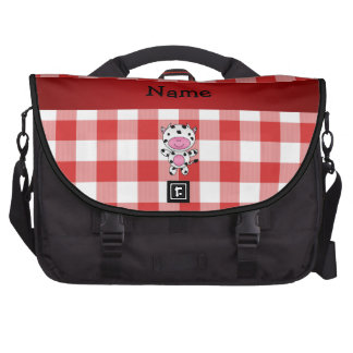 Personalized name cow red picnic checkers commuter bags