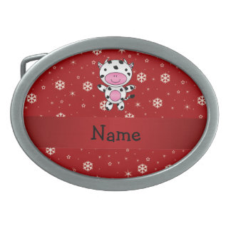 Personalized name cow red snowflakes belt buckles