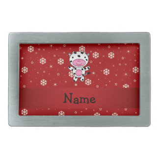 Personalized name cow red snowflakes rectangular belt buckles