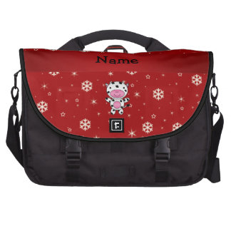 Personalized name cow red snowflakes bags for laptop