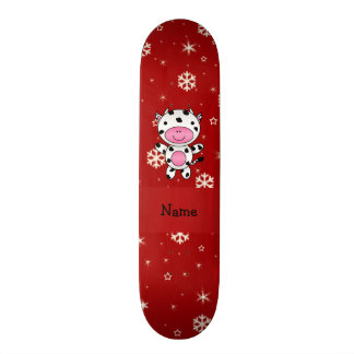 Personalized name cow red snowflakes custom skate board