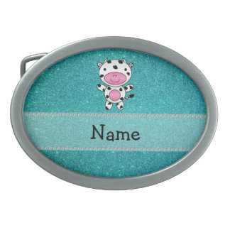 Personalized name cow turquoise glitter oval belt buckles