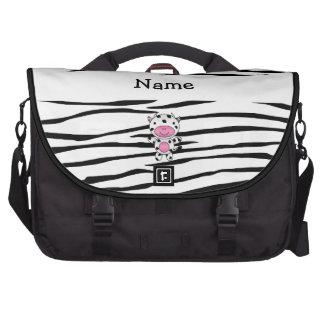 Personalized name cow zebra stripes laptop commuter bag