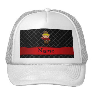 Personalized name cowboy black grid pattern trucker hat