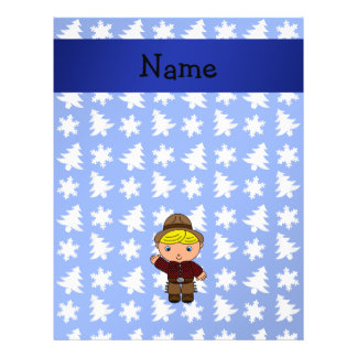 Personalized name cowboy blue snowflakes trees flyer