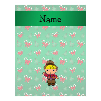 Personalized name cowboy green candy canes bows full color flyer