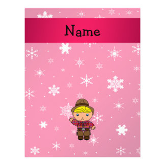 Personalized name cowboy pink snowflakes flyer design