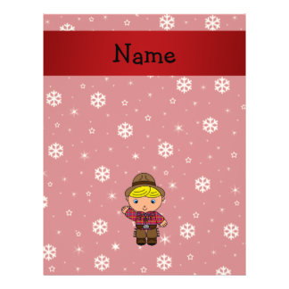 Personalized name cowboy red snowflakes flyer design