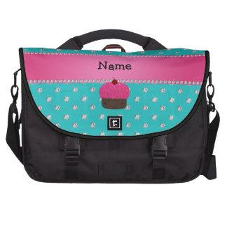 Personalized name cupcake turquoise diamonds laptop computer bag