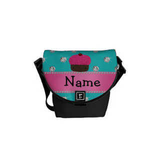 Personalized name cupcake turquoise diamonds courier bag